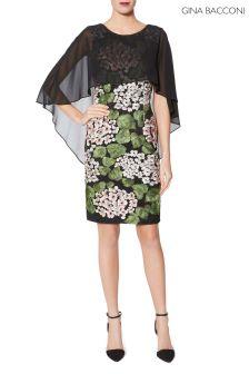 Gina Bacconi Green Blair Chiffon And Embroidery Dress