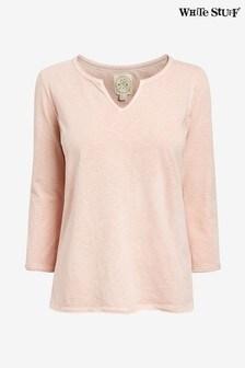 White Stuff Pink 3/4 Sleeve Daisy Jersey T-Shirt