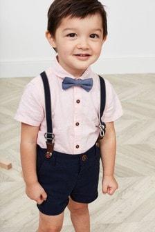 Komplet srajce, kratkih hlač, metuljčka in naramnic (3 mesecev–7 let)
