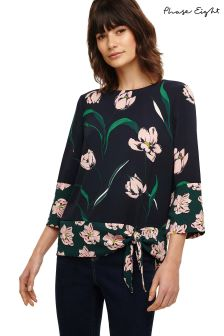 Phase Eight Navy Multi Leto Patch Print Blouse
