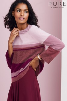 Pure Collection Purple Cashmere Brushed Colourblock Sweater