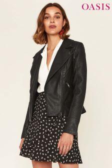 Oasis Black Faux Leather Stitch Biker Jacket
