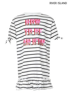 River Island Slogan Stripe Tee Dress
