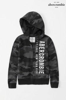 Худи черного цвета с камуфляжным принтом и логотипом Abercrombie & Fitch
