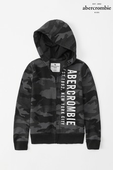 Abercrombie & Fitch Black Camo Logo Hoody