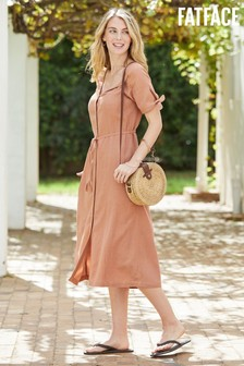 FatFace Orange Tara Button Dress