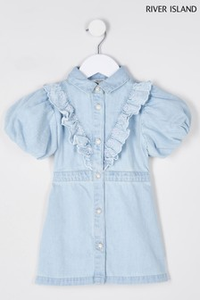River Island Denim Bubble Sleeve Shirt Dress
