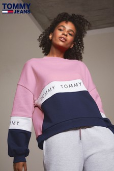Tommy Jeans Pink Colourblock Sweater