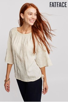 FatFace Natural Copper/Black Taryn Embroidered Blouse