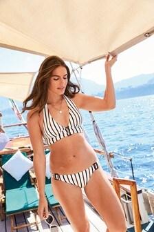 Textured Stripe Triangle Bikini Top
