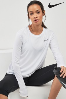 Nike White Long Sleeved Miler Top