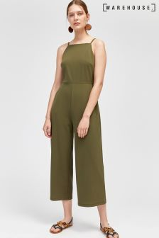 Warehouse Khaki Square Neck Jumpsuit