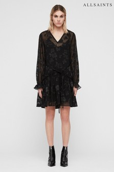 All Saints Black Metallic Alia Dress