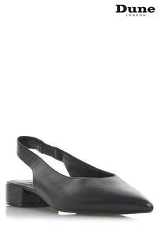 Dune London Black Block Heel U-Cut Slingback
