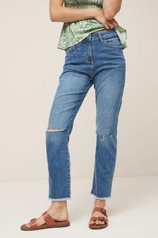 High Waist Straight Leg Rip Jeans
