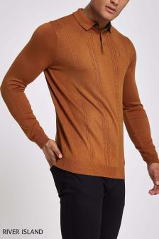 River Island Rust Cable Knit Polo