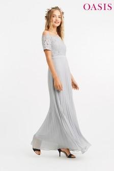 Oasis Grey Lace Bardot Maxi Dress