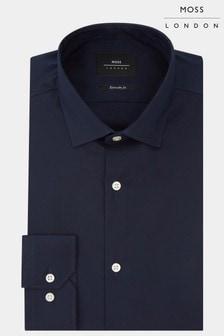 Moss London  Extra Slim Fit Stretch-Hemd mit einfachen Manschetten, marineblau