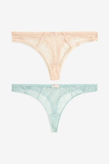 Embroidered Thongs Two Pack