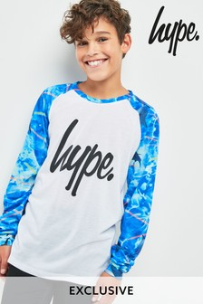 Hype. Blue And White Laser Shark Long Sleeve Top