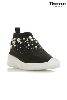 Dune London Black Knitted Sport Trainer