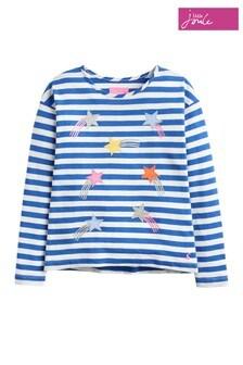 Joules Cora Jersey-Oberteil für Mädchen mit Applikation, blau