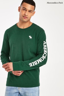 Abercrombie & Fitch Green Long Sleeve Logo T-Shirt