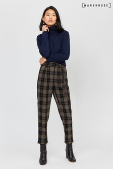 Warehouse Grey Check Tie Waist Peg Trouser
