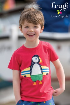 Frugi Red Seagull Puffin Appliqué T-Shirt