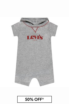 Levis Kidswear Baby Boys Grey Cotton Shortie Romper