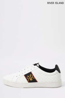 River Island White Embroidered Surrey Trainers