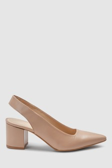 Signature Leather Point Slingbacks