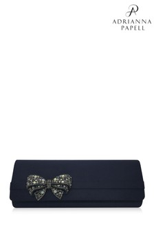 Adrianna Papell Navy Kolbie Bow Envelope Clutch