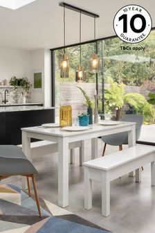 White Gloss 4 Seater Bench Set