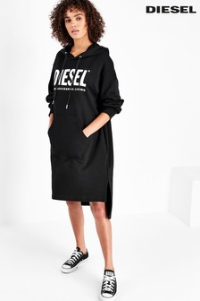 Diesel® Black Oversized Hoody Dress