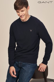 GANT Blue Super Fine Lambswool Crew Knit