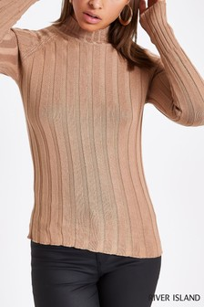 River Island Camel High Neck Jumper