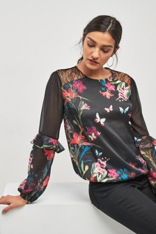 Floral Border Print Sheer Sleeve Blouse