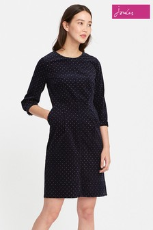 Joules French Navy Woodchip Spot Corduroy Dress