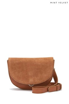 Mint Velvet Sam Tan Leather Saddle Bum Bag