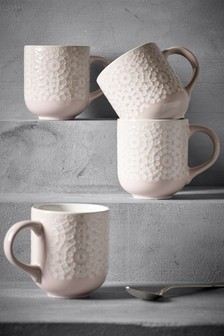 Set of 4 Geo Embossed Mugs