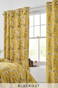 Retro Wildflower Blackout Eyelet Curtains