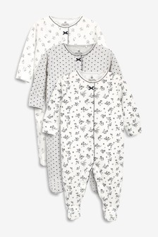 3 Pack Floral Bunny Sleepsuits (0mths-2yrs)