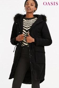 Oasis Black Salcombe Fashion Parka