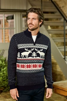Reindeer Zip Neck Jumper