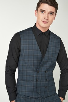 Check Suit: Double Breasted Waistcoat