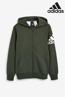 adidas Dark Green Arm Logo Full Zip Hoody