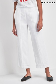Whistles White Linen Crop Wide Leg Trouser