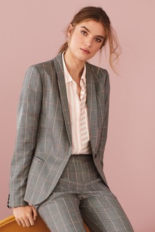 Windowpane Check Tailored Suit Jacket