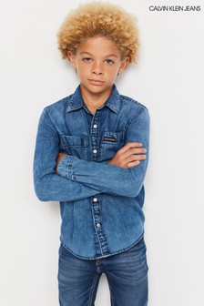 Calvin Klein Jeans Blue Washed Denim Shirt